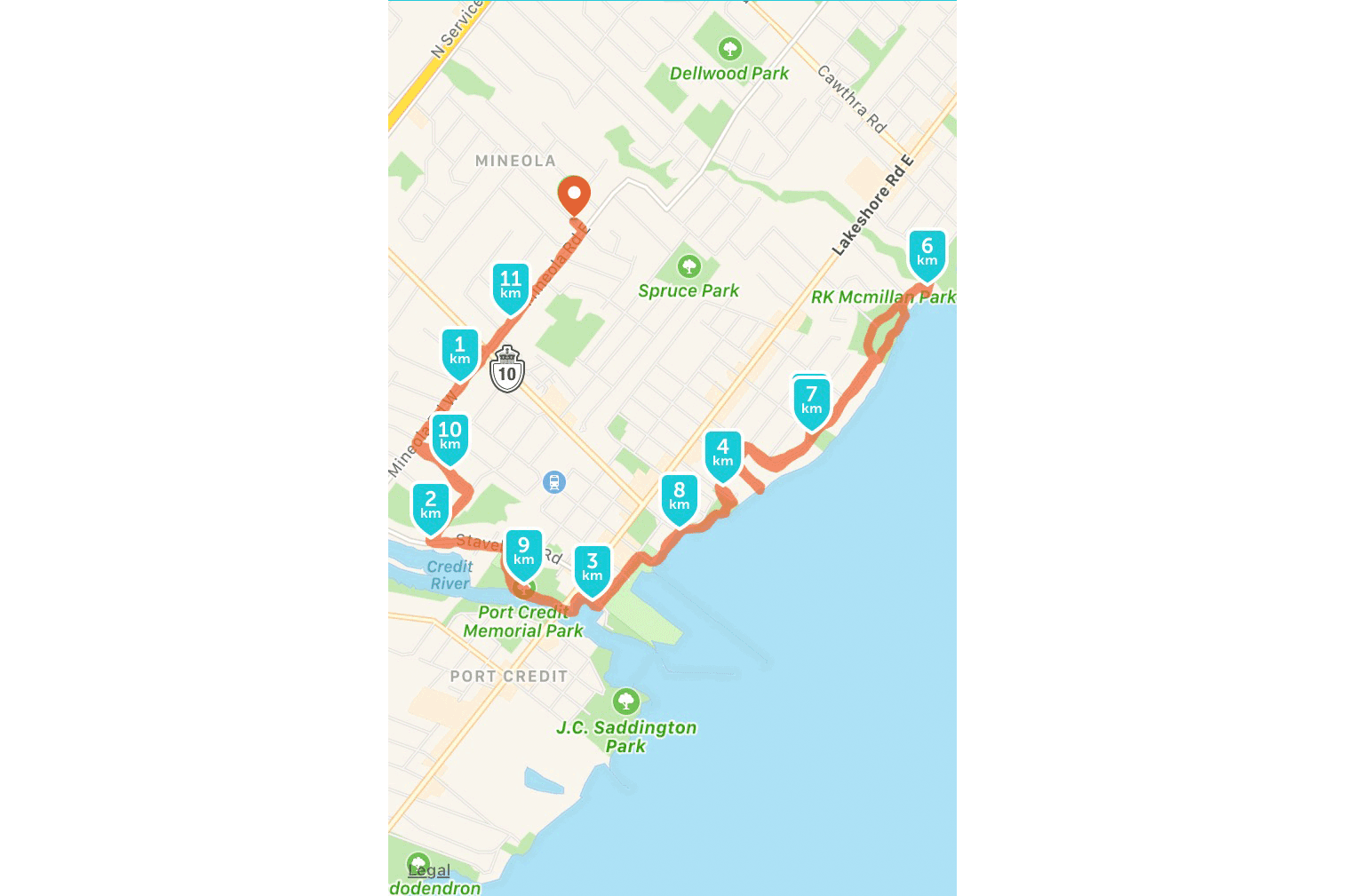 This is a little longer than my first actual Port Credit run, done later in the summer when I'd learned how to use running apps.
