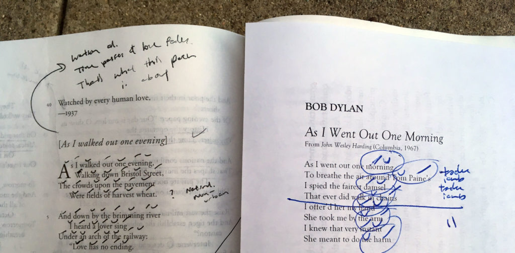 "A Poetic High-Five Through the Ages: Bob Dylan's ""As I Went Out One Morning"" and Auden's ""As I Walked Out One Evening"""